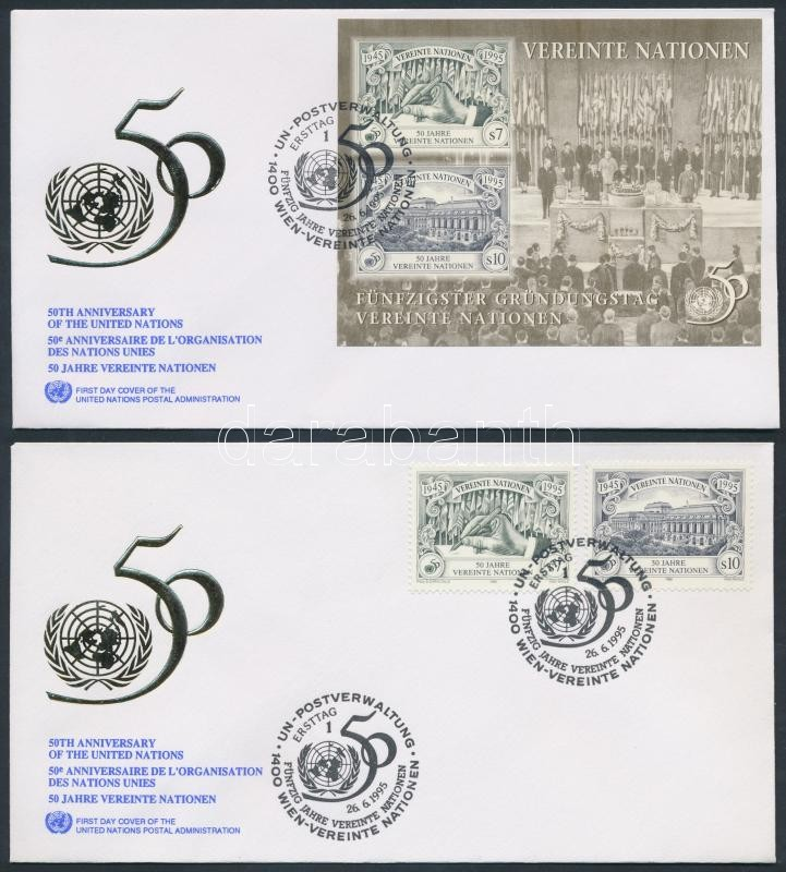 50th anniversary of UNO set + block 2 FDC 50 éves az ENSZ sor + blokk 2 FDC