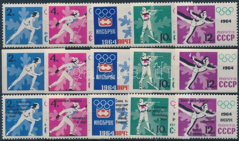 Innsbruck Winter Olympics perf and imperf set + overprinted set, Téli Olimpia, Innsbruck fogazott és vágott sor + sor felülnyomással