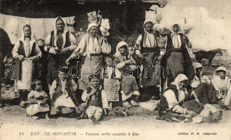 Monastir, Macedonian folklore, spinning women, Monastir, Macedón folklór