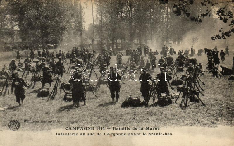 1914 Battle of Marne, French infantry, 1914 Első marne-i csata, francia gyalogosok a harc előtt