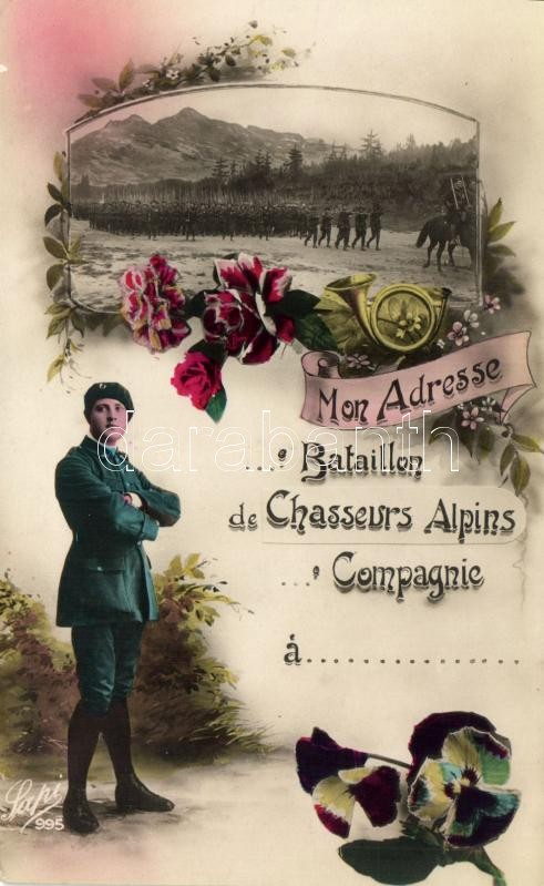 WWI French military greeting card, floral, I. világháború, francia katonai üdvözlőlap, virágok