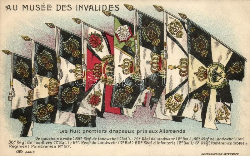 Les Huit premiers drapeaux pris aux Allemands / WWI French propaganda, Eight first flags taken from the German, Első világháború francia propaganda, nyolc első zászló a németektől