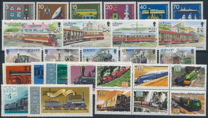 Railway 53 stamps, Vasút motívum tétel 53 db bélyeg közte teljes sorok 2 stecklapon