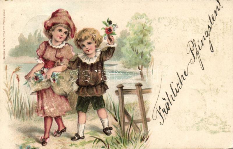 Children greeting card, Fritz Schardt decorated litho, Gyermek üdvözlőlap, Fritz Schardt díszített litho