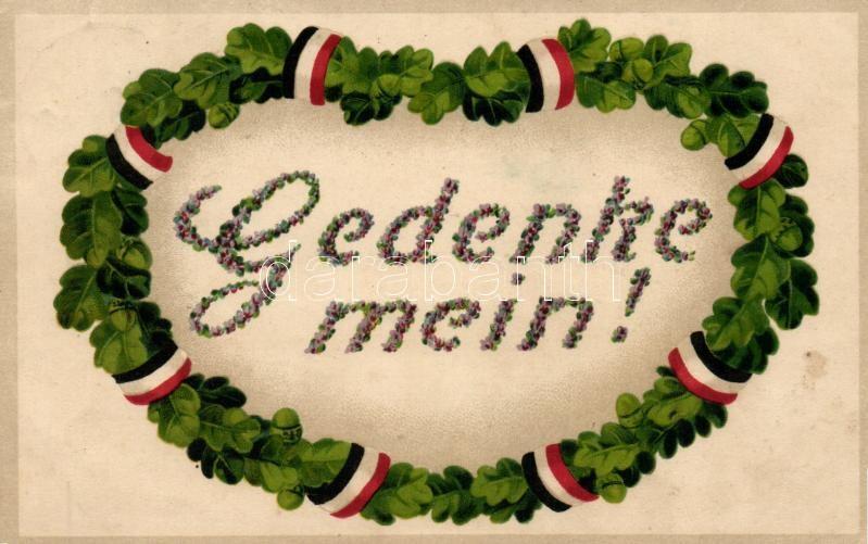 Gedenke mein! / German patriotic greeting card, EAS K. 936. litho, Német hazafias üdvözlőlap, EAS K. 936. litho