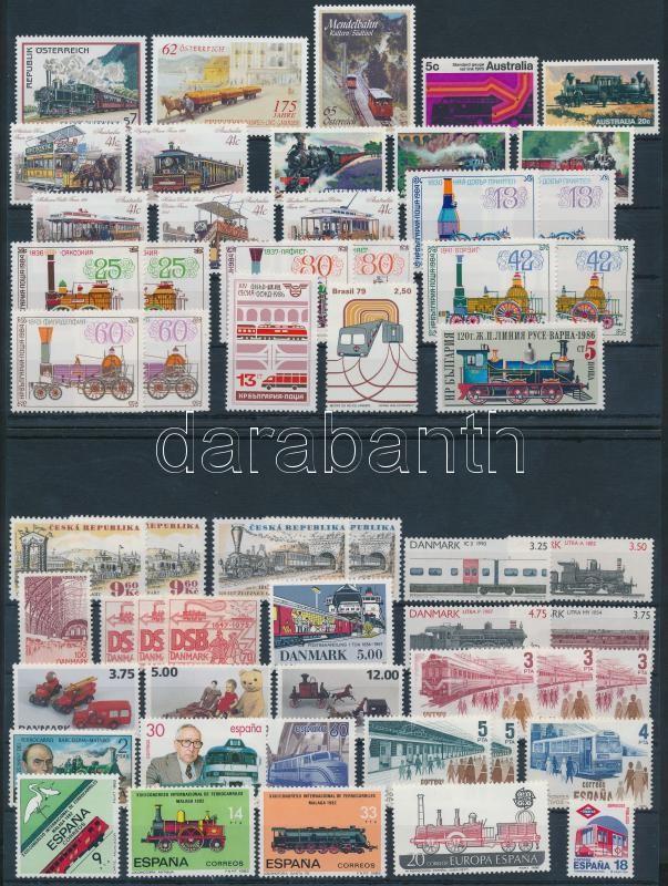Railway 56 stamps, Vasút motívum tétel 56 db bélyeg közte teljes sorokkal 2 stecklapon