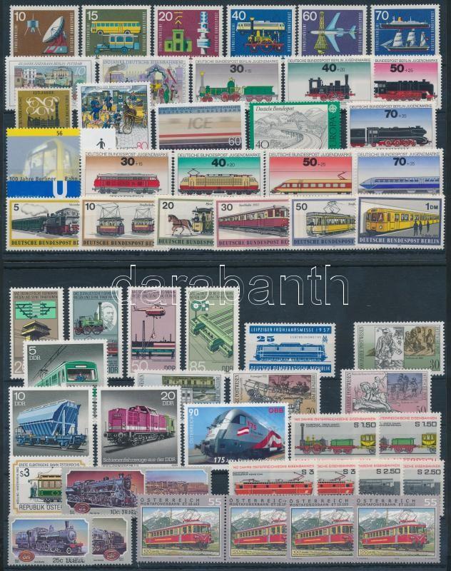 Railway 55 stamps, Vasút motívum tétel 55 db bélyeg közte teljes sorokkal 2 stecklapon