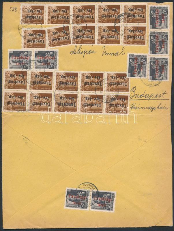 Inflation cover, (16. díjszabás) Távolsági levél 28 db Betűs III. bélyeggel bérmentesítve (boríték szétnyitva)