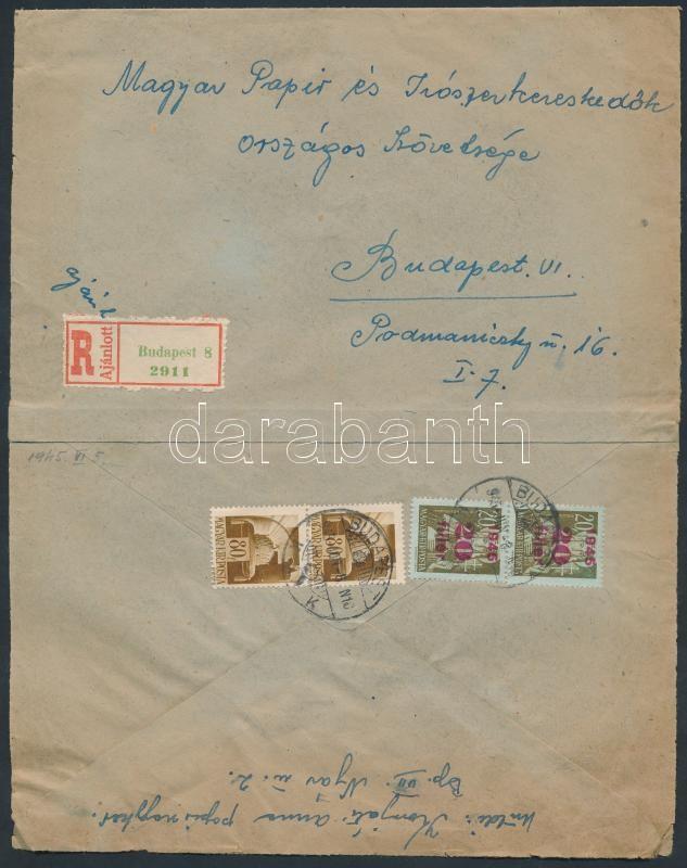Inflation cover, (1. díjszabás) Ajánlott helyi levél Hadvezérek 2x80f + Kisegítő 20f/20f bérmentesítéssel (boríték szétnyitva)