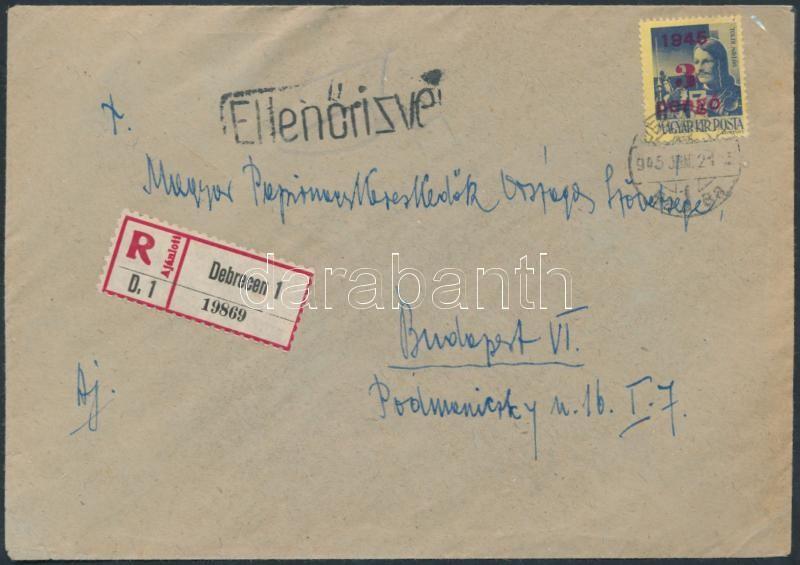 (1. díjszabás) Ajánlott távolsági cenzúrázott levél Kisegítő 3P/3P bérmentesítéssel, Inflation cover
