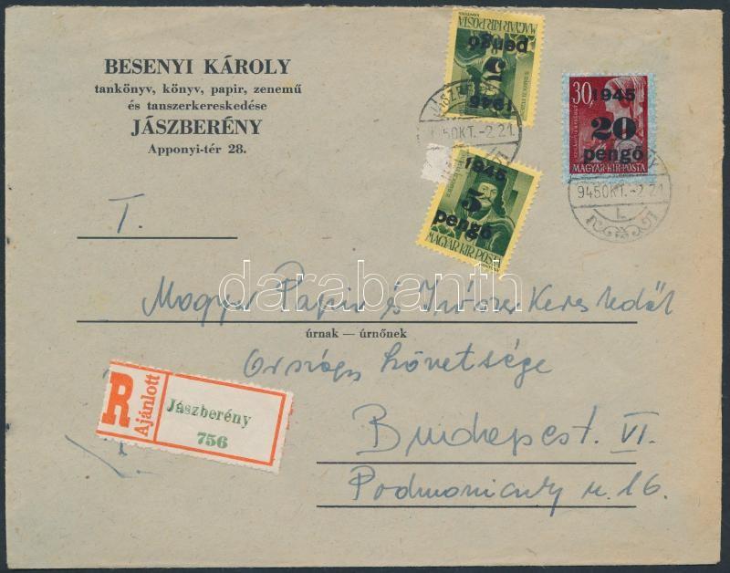 Inflation cover, (3.díjszabás) Ajánlott távolsági céges levél Kisegítő 2x5P/8f + 20P/30f bérmentesítéssel