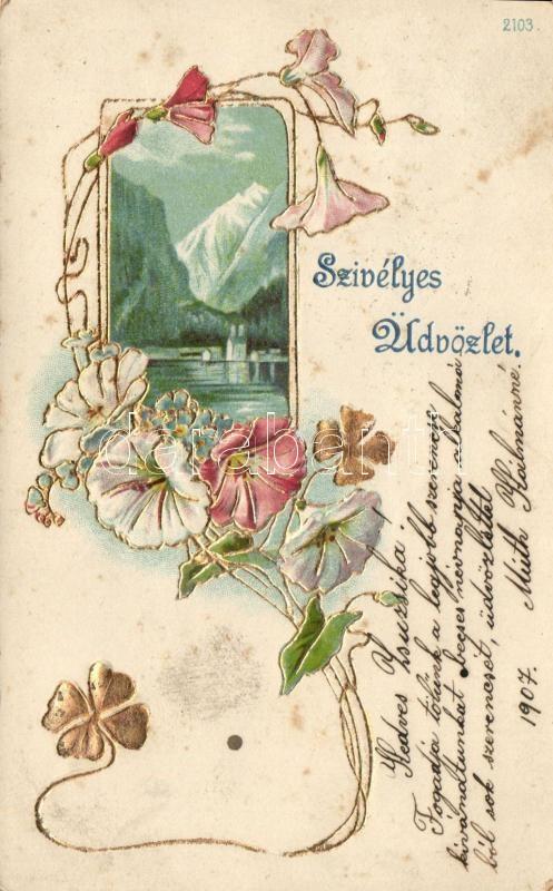Greeting card, golden decorated, floral Emb. litho, Üdvözlőlap, arannyal díszített, virág dombornyomat, litho