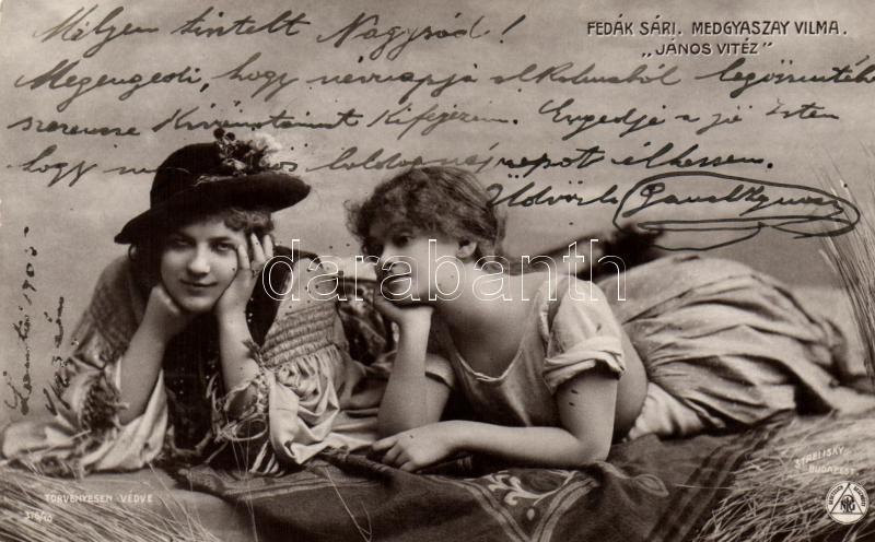 Fedák Sári, Medgyaszay Vilma; 'János Vitéz', Strelisky No. 376/10., Fedák Sári, Medgyaszay Vilma; Hungarian actresses, Strelisky No. 376/10.