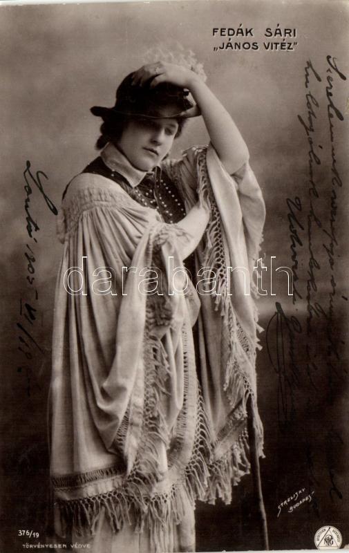 Fedák Sári; Hungarian actress, Strelisky No. 376/19., Fedák Sári; 'János Vitéz', Strelisky No. 376/19.