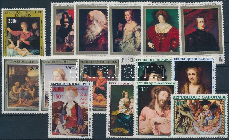 Festmény motívum 60-as 70-es évekből 15 klf bélyeg, Paintings 15 stamps