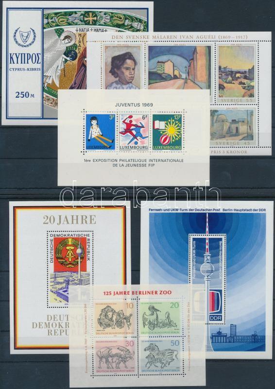 Europe 1968-1969 12 block, Európa 1968-1969 12 klf blokk sok motívummal 6 db stecklapon