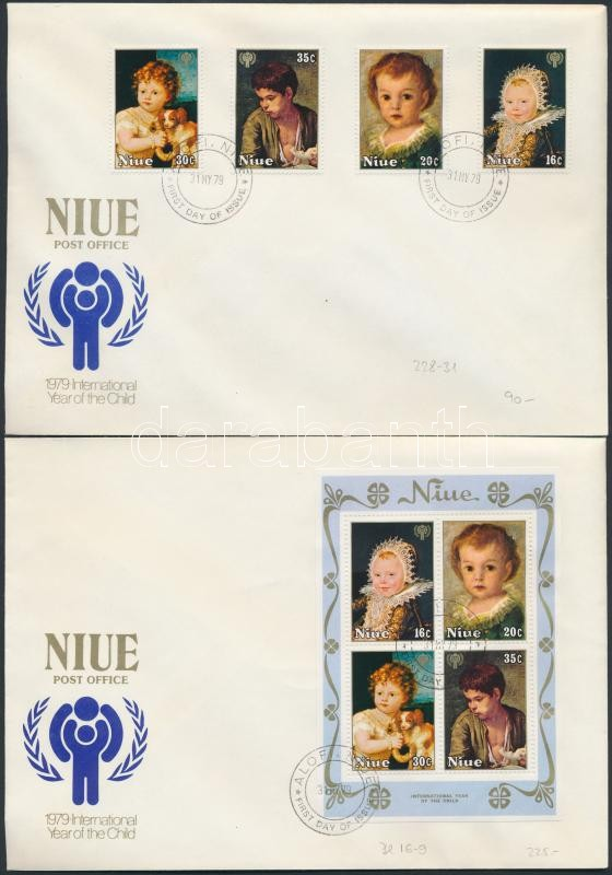 Child years; painting set + block + 2 FDC, Gyermek év; Festmény sor + blokk + 2 FDC