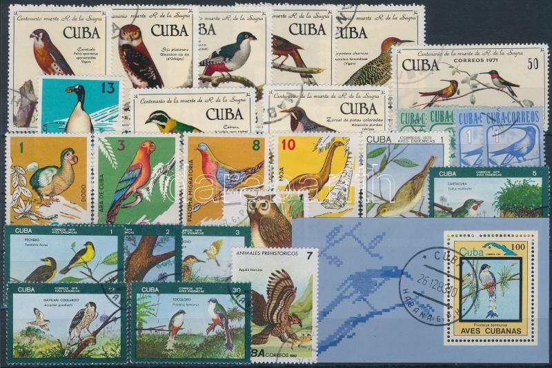 1971-1983 56 Bird stamps + 1 block, 1971-1983 56 db Madár motívumú bélyeg és 1 db blokk 2 stecklapon