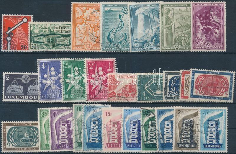 Europa CEPT 1952-1958 5  sets + 10 individual values, Europa CEPT 1952-1958 5 klf sor + 10 klf önálló érték