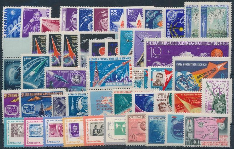 Romania, Soviet Union 1957-1962 Space Research 47 stamps, Románia, Szovjetunió 1957-1962 Űrkutatás motívum 47 db bélyeg, közte teljes sorok, szelvényes és vágott értékek