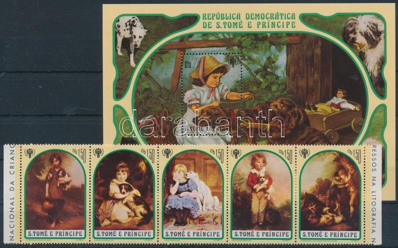 Year of Children; Children with dog painting stripe of 5 + block, Gyermekek éve; Gyermek kutyával festmények ötöscsík + blokk