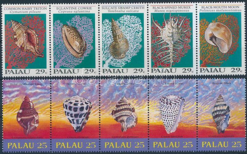 1989/1992 Sea snails and shellfish 2 stripes of 5 1989/1992 Tengeri csigák és kagylók 2 klf sor 5-ös csíkokban