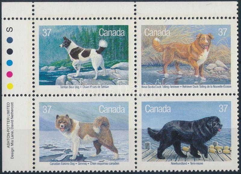 Dogs set in corner blocks of 4, Kutyák sor ívsarki 4-es tömbben