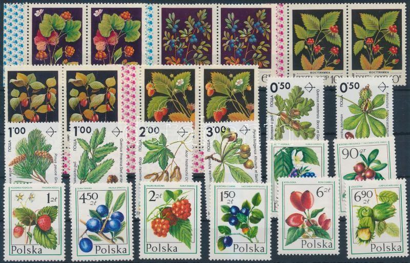 Növények motívum 1977-1992 2 klf sor + 1 db sor párokban, Plants 1977-1992 2 sets + 1 set in pairs