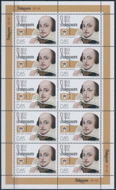 Shakespeare minisheet, Shakespeare születésének 450. évfordulója kisív
