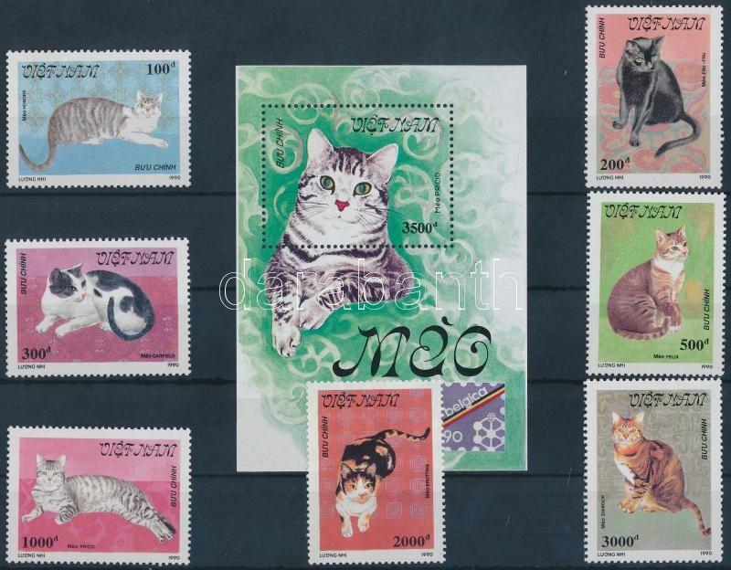 International Stamp Exhibition, cats set + block, Nemzetközi bélyegkiállítás, macskák sor + blokk