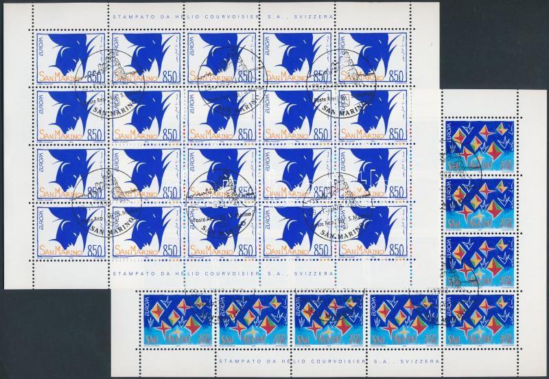 Europa CEPT, contemporary art mini sheet set with forst day cancellation, Europa CEPT, kortárs művészet kisívsor első napi bélyegzéssel