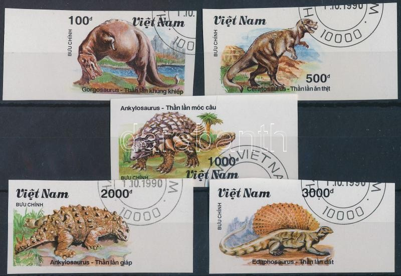 Dinosaurs imperforated set, Dinoszauruszok vágott sor
