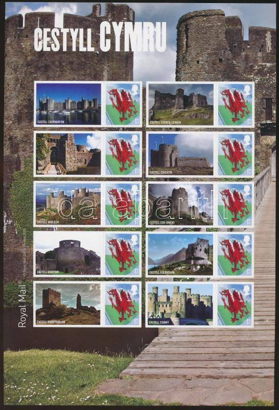 Wales 2010 Flags - Castles foil sheet Wales 2010 Zászlók - Kastélyok fólia ív