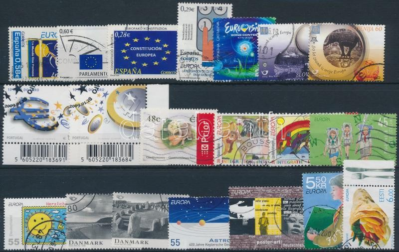 Europa bélyegek 2004-2008 1 sor + 9 klf önálló érték, 2004-2008 Europa stamps 1 set + 9 diff stamps