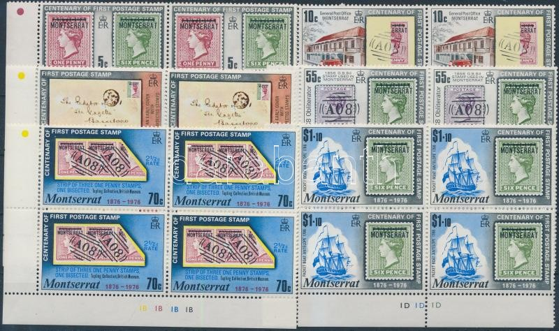 Centenary of stamp set corner blocks of 4 100 éves a bélyeg sor ívszéli négyestömbökben