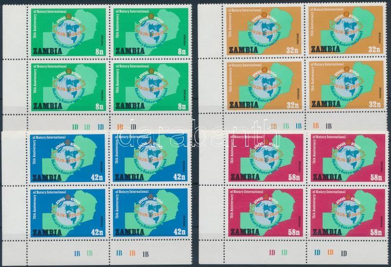 Rotary set corner blocks of 4 Rotary sor ívsarki négyestömbökben