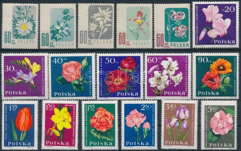 1957-1964 Flower 2 sets, 1957-1964 Virág 2 klf sor