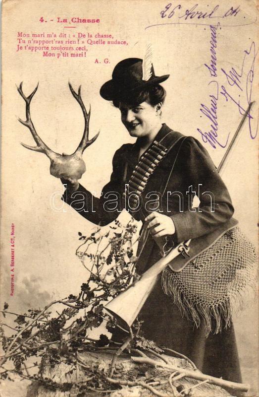 La Chasse / Lady hunter with gun and antler, Vadász hölgy puskával és szarvasaganccsal