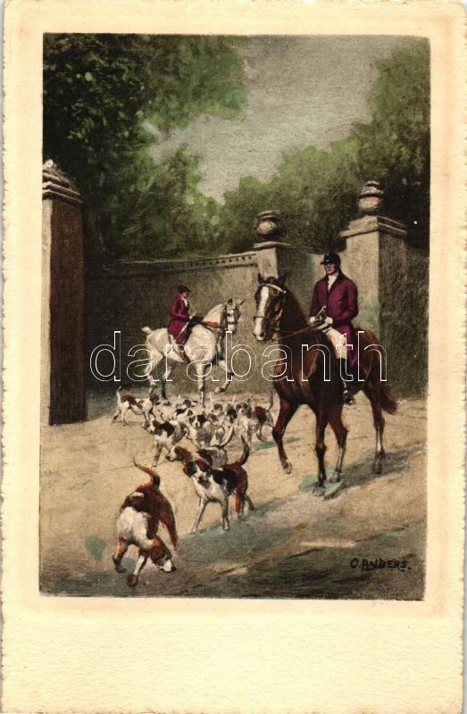Hunters, hunting dogs s: O. Anders, Lovas vadászok kutyákkal s: O. Anders