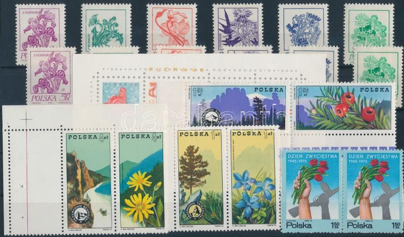 1968-1975 Plants 2 stamps + 3 sets, 1 block, 1968-1975 Növények 2 db bélyeg + 3 db sor és 1 db blokk