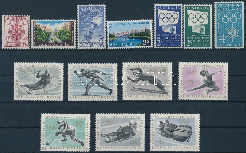 1955-1963 Olympics 3 diff stamps + 2 diff sets, Olimpia motívum 1955-1963 3 klf bélyeg + 2 klf sor