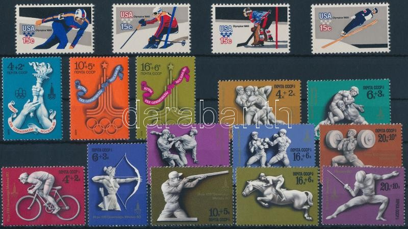 1976-1980 Olympics 4 diff sets, Olimpia motívum 1976-1980 4 klf sor