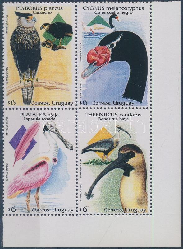 Őshonos madarak sor ívsarki 4-es tömbben, Indigenous birds set corner block of 4