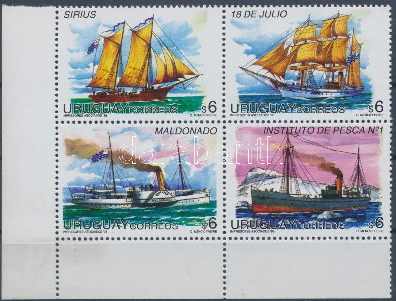 Ships set set in coner block of 4, Hajók sor ívsarki 4-es tömbben