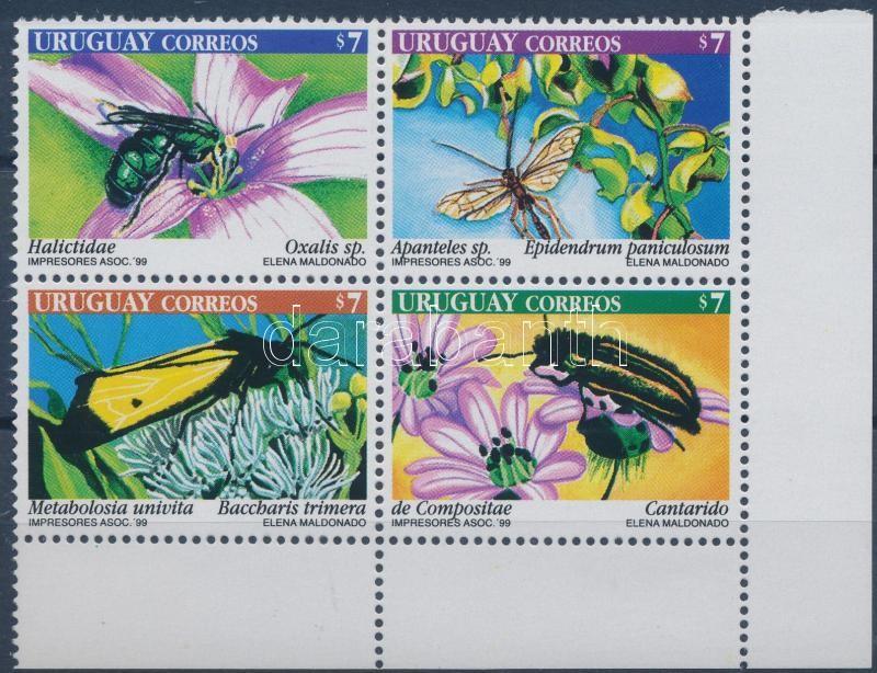 Flower pollinators set corner block of 4, Virágbeporzó rovarok sor ívsarki 4-es tömbben