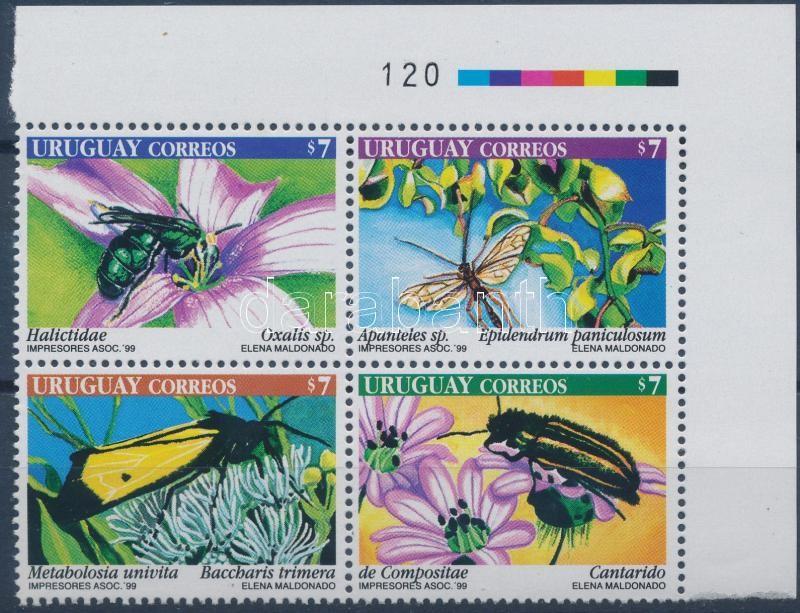 Flower pollinators set in corner block of 4, Virágbeporzó rovarok sor ívsarki 4-es tömbben