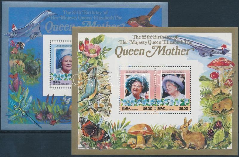 Erzsébet anyakirálynő születésnapja lepkék, állatok, gombák, virágok blokk, Elizabeth Queen Mother blocks