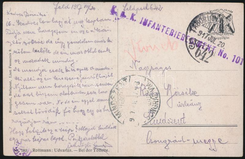 "Postcard ""K.u.k. INFANTERIEREGIMENT No.101"" + ""TP 642"", Tábori posta képeslap ""K.u.k. INFANTERIEREGIMENT No.101"" + ""TP 642"""