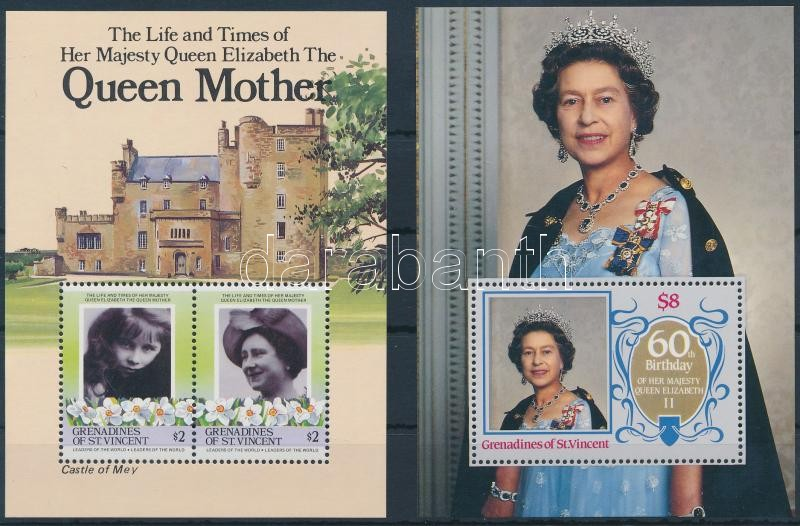 1985-1986 II. Erzsébet királynő 2 klf blokk, 1985-1986 Queen Elizabeth 2 diff blocks