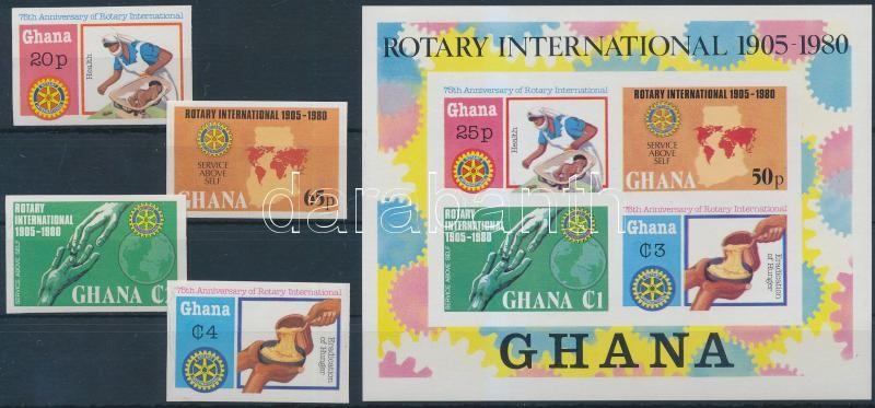 Rotary imperforated set + imperforated block, Rotary vágott sor + vágott blokk